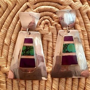 Vintage Sterling Silver Gemstone Inlay Earrings